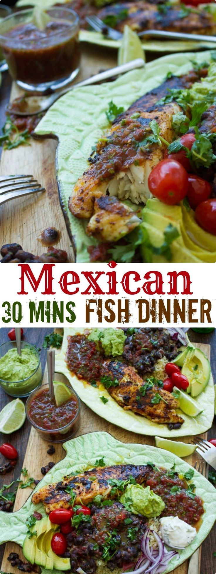 30 Minutes Fish Dinner | Pressed for time? This Mexican feast of pan-fried tilapia fillets with Mexican black beans, homemade guacamole and restaurant-style salsa comes together in just 30 minutes and is healthy, nutritious and outrageously delicious! #dinner, |  @twopurplefigs