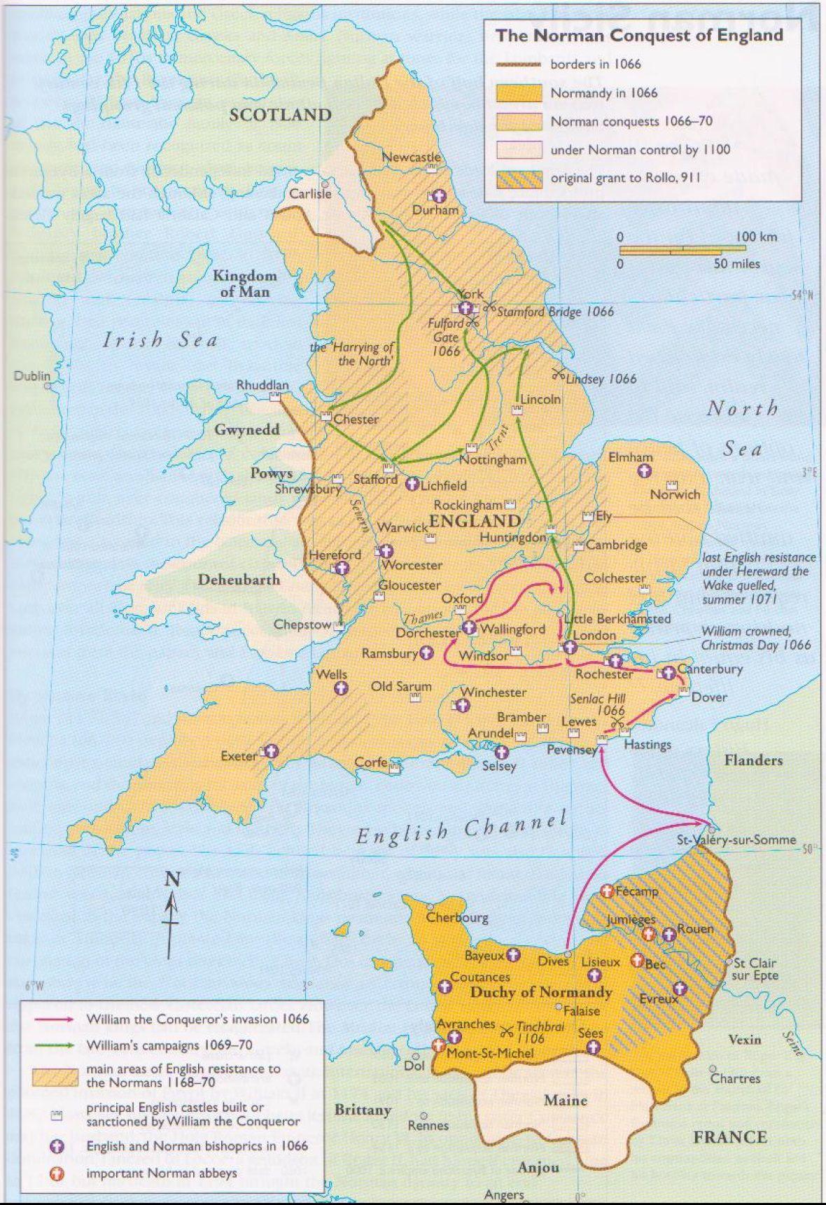 A Conquista Normanda Da Inglaterra Mapa Guilherme O Conquistador