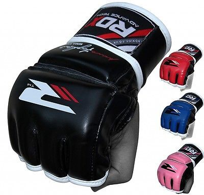 RDX Leather Tech MMA Grappling Gloves Fight Boxing Punch Bag Training Kick F11