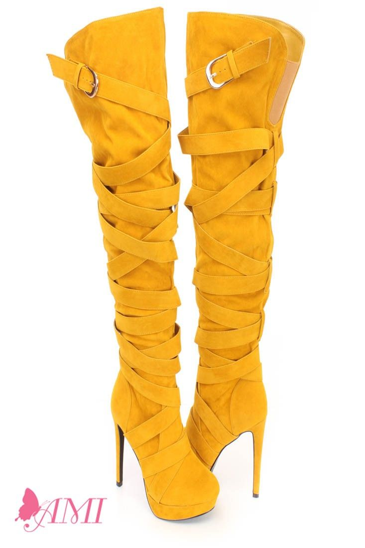 9d305784878 These sexy and stylish boots feature a faux suede upper with a wrap around  strappy design