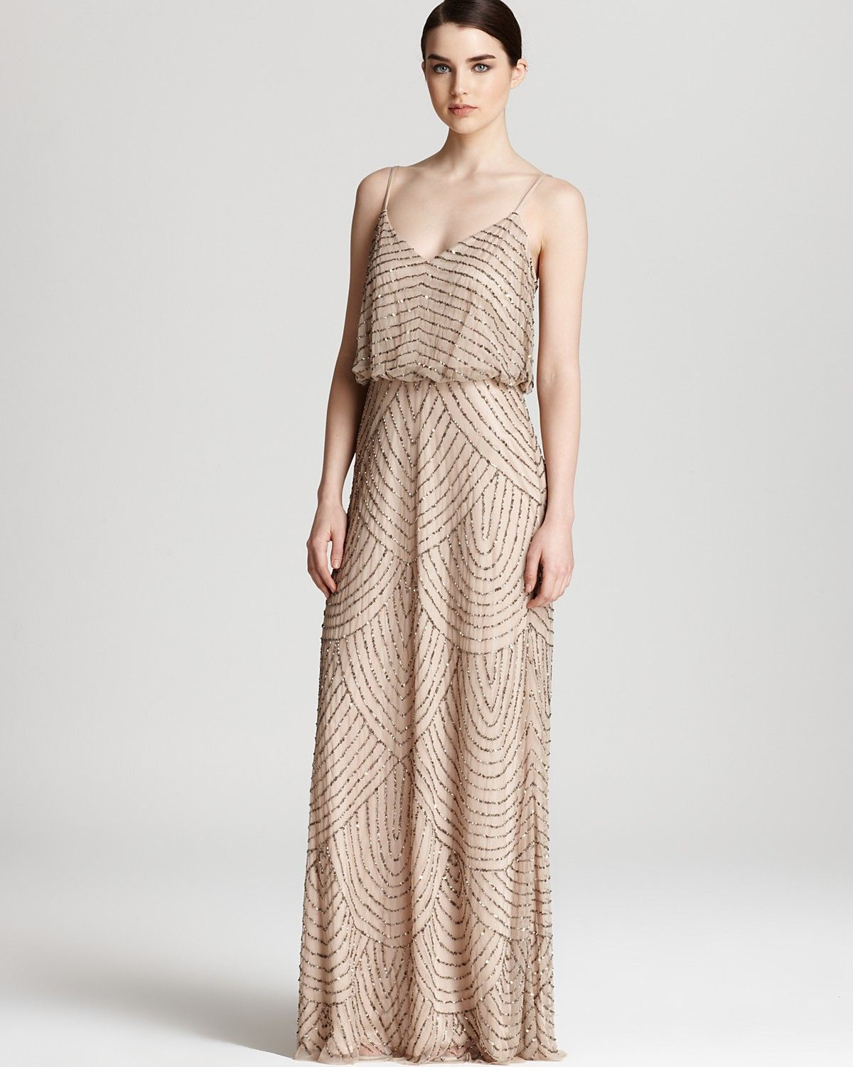Adrianna Papell Beaded Dress - Long Blouson | Bloomingdale\'s $260 ...
