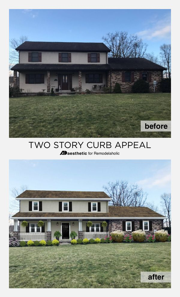 Virtual House Makeover real life rooms: two story curb appeal | curb appeal, exterior and