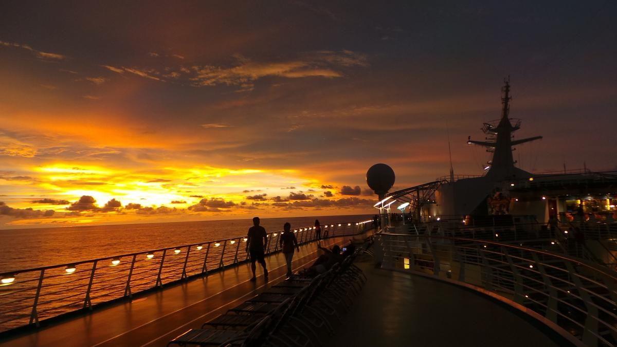 Sunset on Mariner of the Seas cruise ship Caribbean