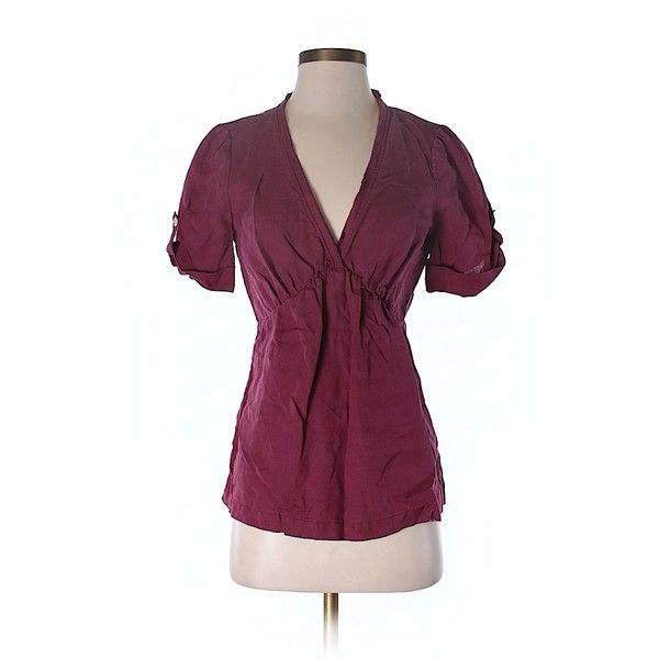 Pre-owned Banana Republic 3/4 Sleeve Blouse (37 AUD) ❤ liked on Polyvore featuring tops, blouses, burgundy, three quarter sleeve tops, three quarter sleeve blouses, burgundy blouse, banana republic and three quarter length sleeve tops