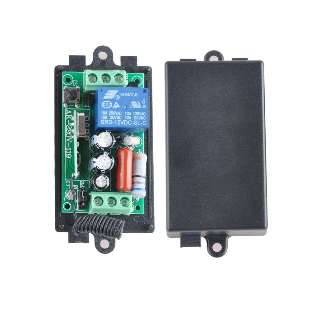 AC220V 1CH 10A 433 백만헤르쯔 원격 제어 스위치 릴레이 출력 라디오 수신기 모듈 + 케이스 무료 배송