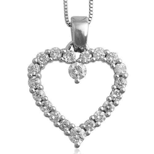10k white gold heart diamond pendant necklace gh i1 i2 050 carat 10k white gold heart diamond pendant necklace gh i1 i2 050 carat aloadofball Image collections