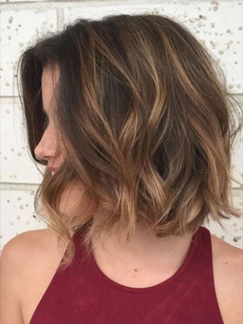 Auburn Wavy Bob 2021 in 2020 | Wavy bob haircuts, Short layered wavy hairstyles, Short dark ...