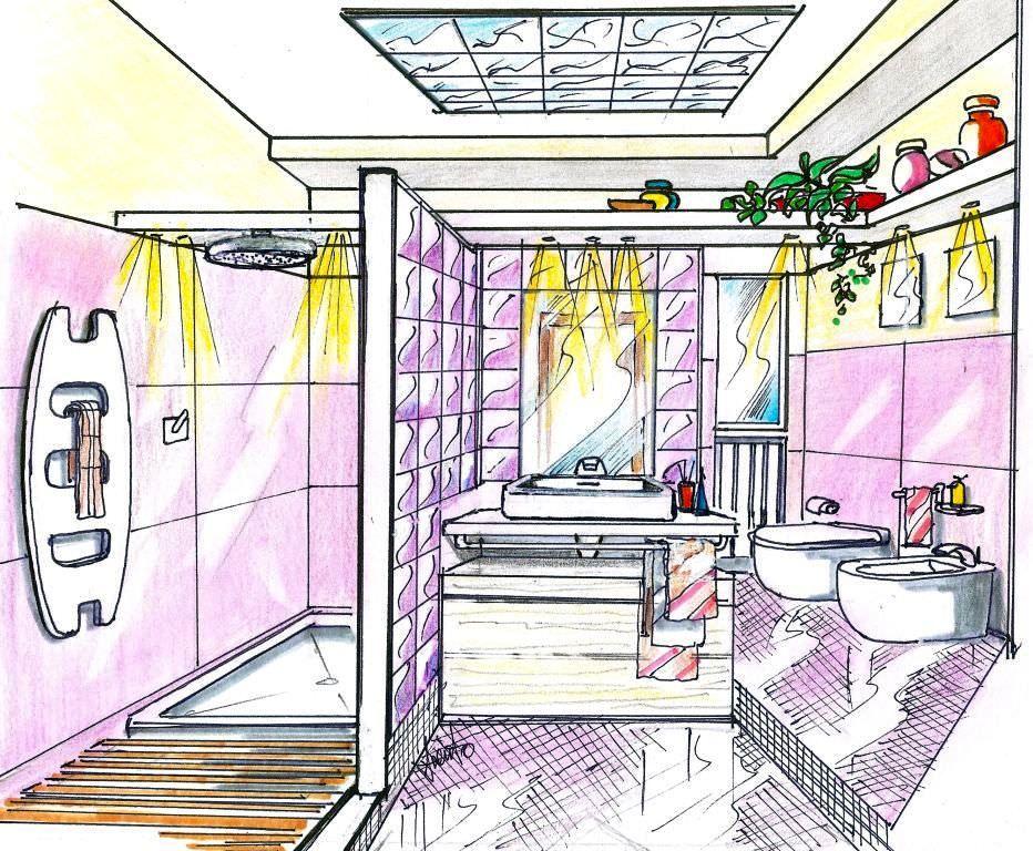 pareti in vetrocemento per bagni nella raffigurazione presentato un bagno in una progettazione