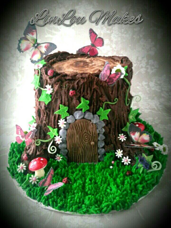 Woodland fairy garden party for Fairy garden birthday cake designs