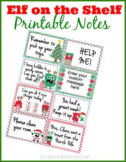 Elf On The Shelf Printable Notes Can Use As Lunchbox Notes Too