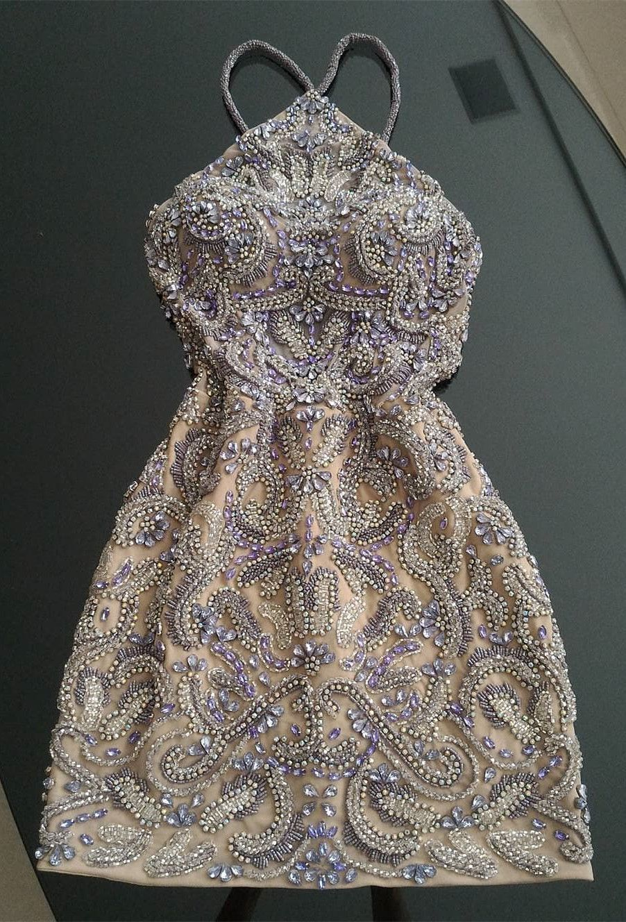 sparkle halter short prom dresses, tight semi formal party