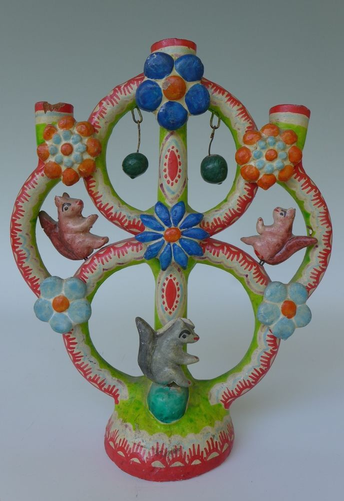Vintage Mexican Ceramic Tree Of Life Candleholder Puebla 10 Tall Native American Pottery Mexican Folk Art Vintage Mexican