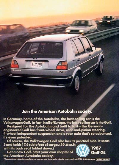 1987 VW Golf GL Sedan vintage ad Best selling car in the land of