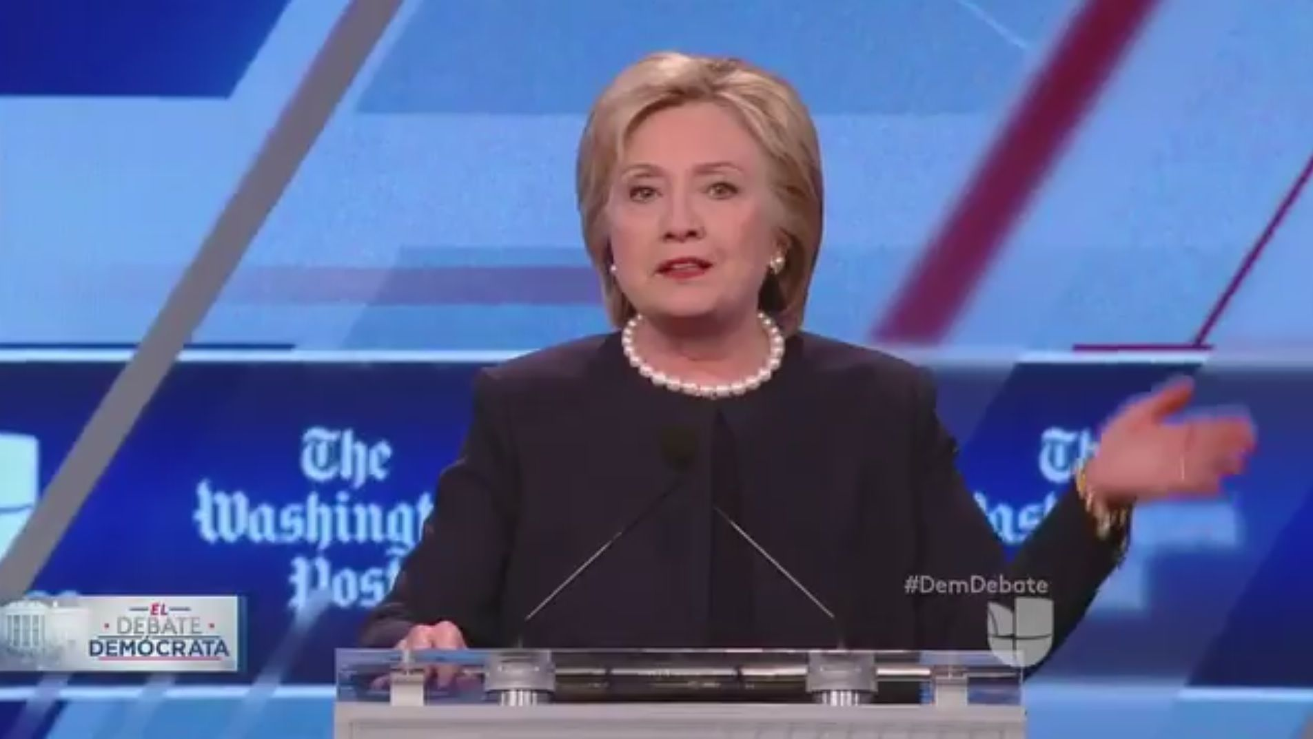 "Democratic front-runner Hillary Clinton decd to say at Wednesday night's Democratic debate whether she would drop out of the 2016 race if indicted over her es. ""If you get indicted, will you drop out?"" moderator Jorge Ramos asked Clinton. ""Oh goodness! That is not going to …"