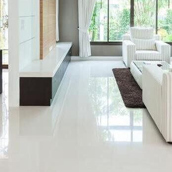 The Smooth Flat Surface Of These White Porcelain Tiles Will Give You Enormous Scope For Creating A B Tile Floor Living Room Living Room Tiles White Tile Floor