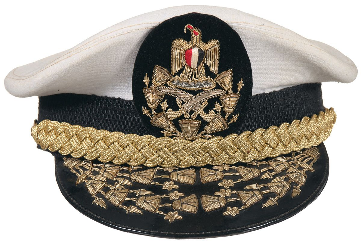 5163223313e117 Four Military Visor Caps and One Military Hat | Military Headgear ...