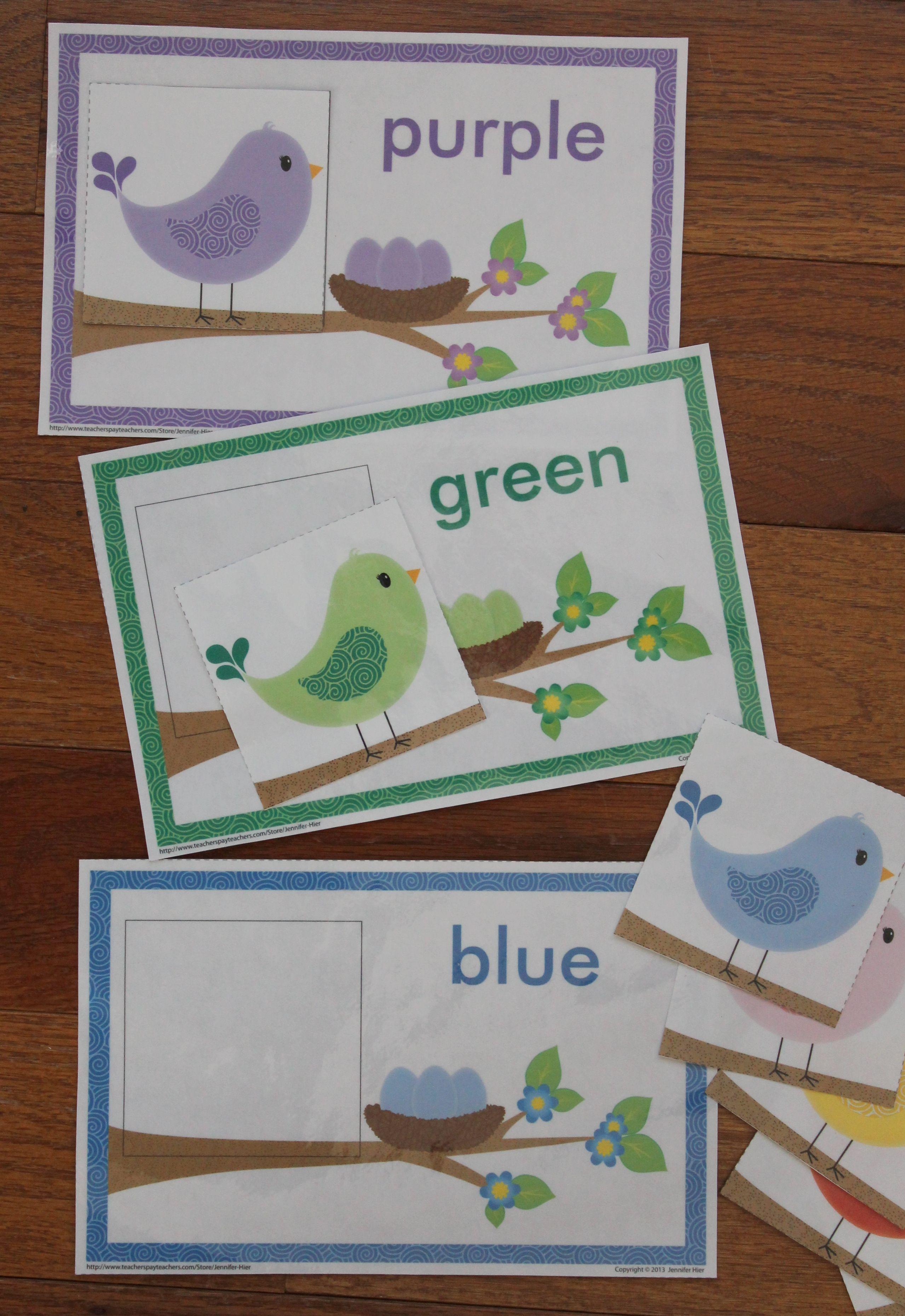 Color Match Activity Spring Bird Color Match