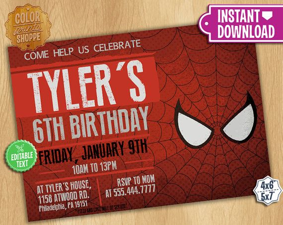 Spiderman Invitation Editable Text Customizable Superhero