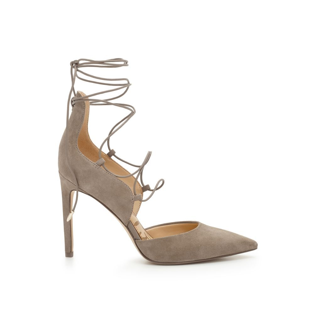 907b4d3a8 Ladylike lace-up pumps are a must this season. We love pairing the Helaine s  ankle wraps and suede pointed toes with everything from midi skirts to  cropped ...