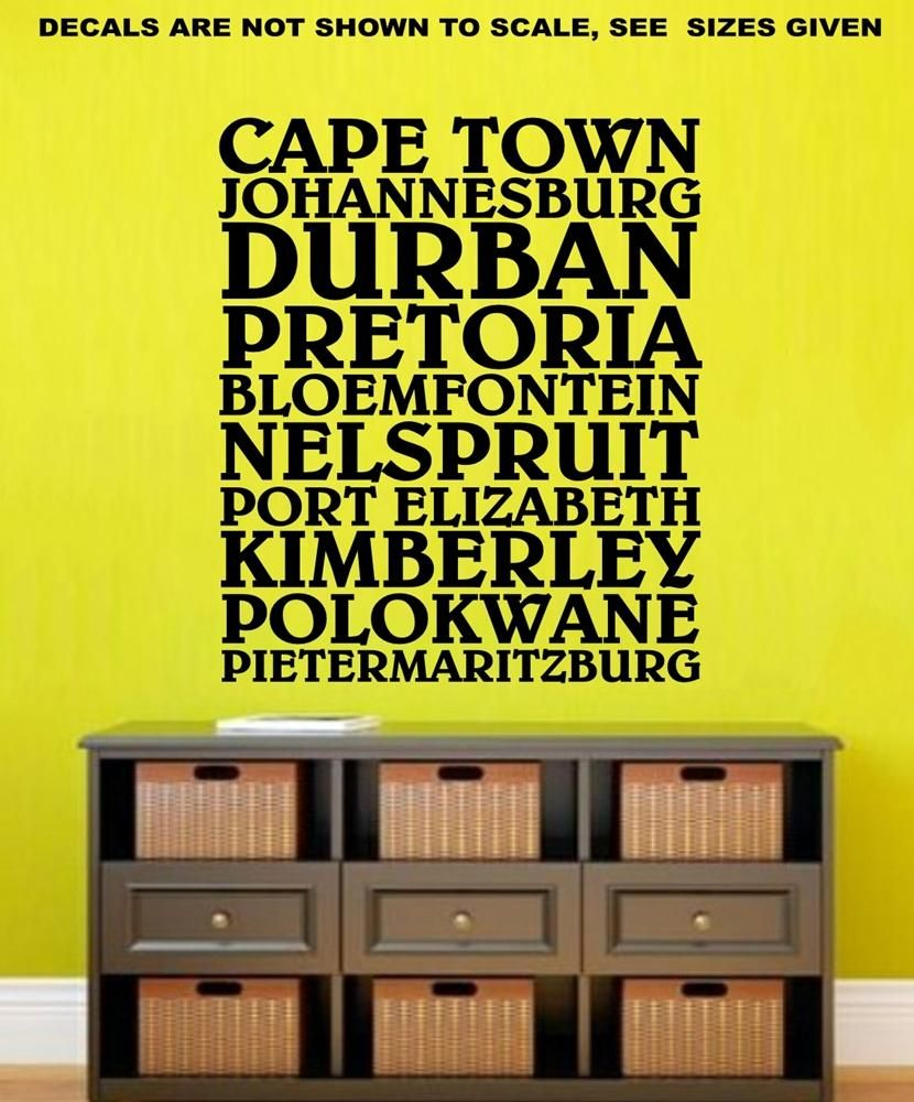 Cities of South Africa Wall Art Sticker Vinyl Decal Various Sizes ...
