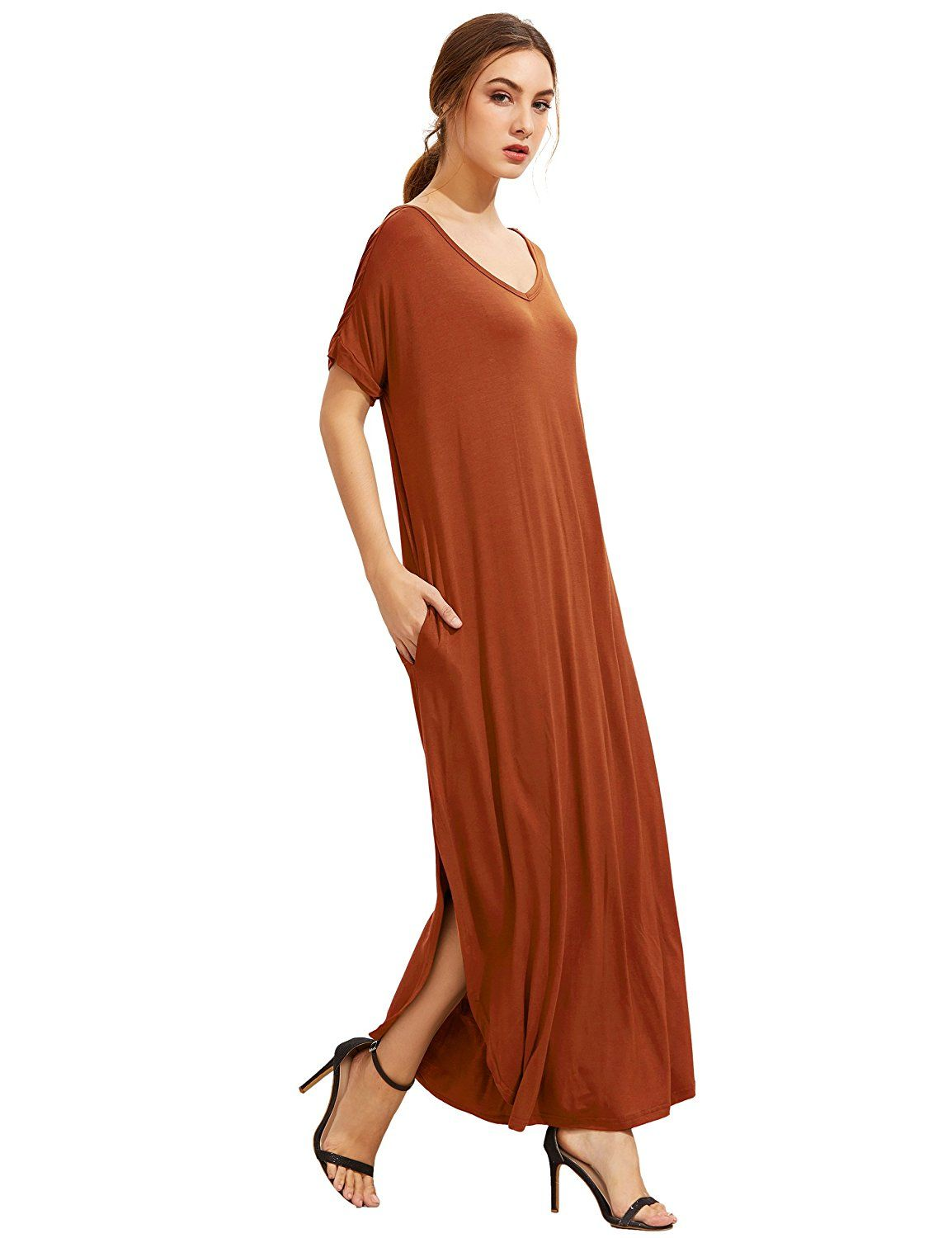 9829cfd7527 MakeMeChic Women s Casual Loose Pocket Long Dress Short Sleeve Split Maxi  Dress at Amazon Women s Clothing