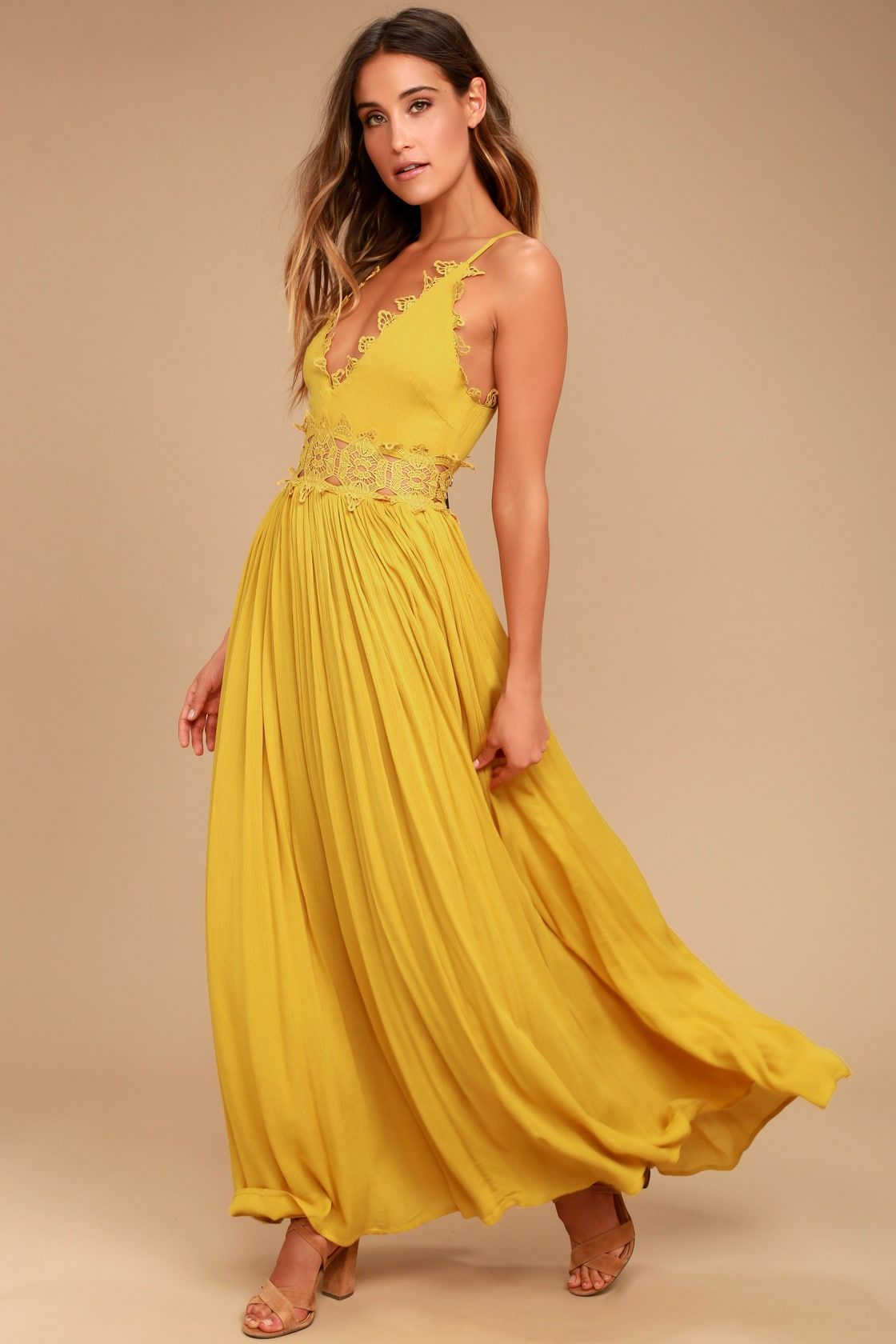 Lulus | This is Love Mustard Yellow Lace