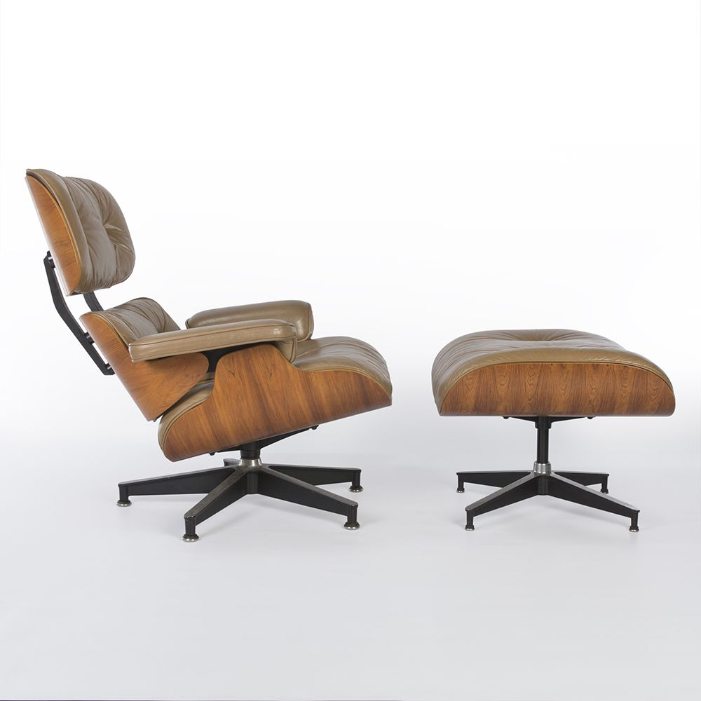 Eames Chair Beige Golden Hue Rosewood Beige Leather Eames Lounge Chair Ottoman By