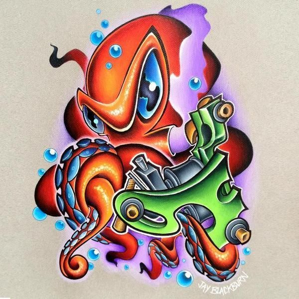 The best mind-blowing new school octopus. Style: New School. Color: Colorful. Tags: Cool