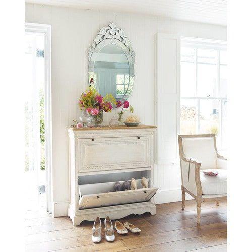 Meuble à chaussures en bois blanc L 93 cm entrée, couloir