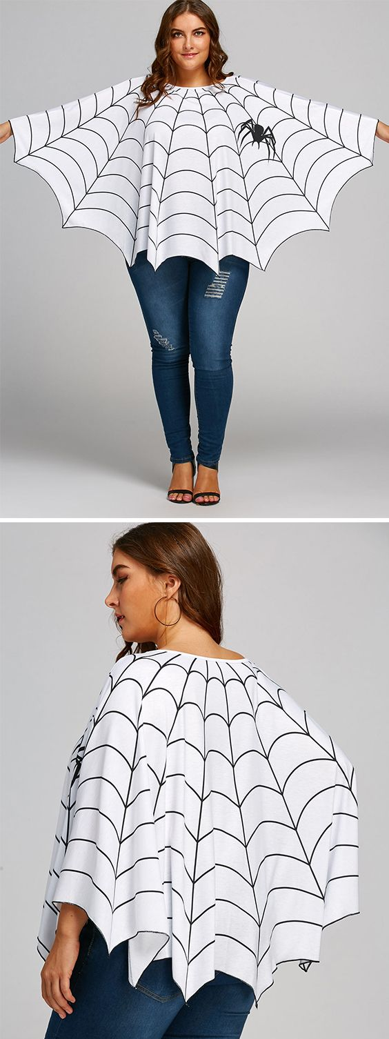 Halloween Spider Web Printed Plus Size Poncho Blouse ...