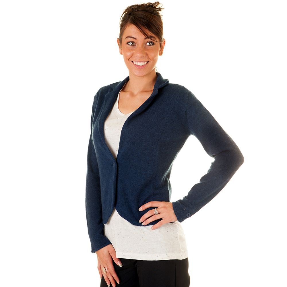 Ladies Navy Cashmere Jacket-Style Cardigan £125.00 | Cashmere ...