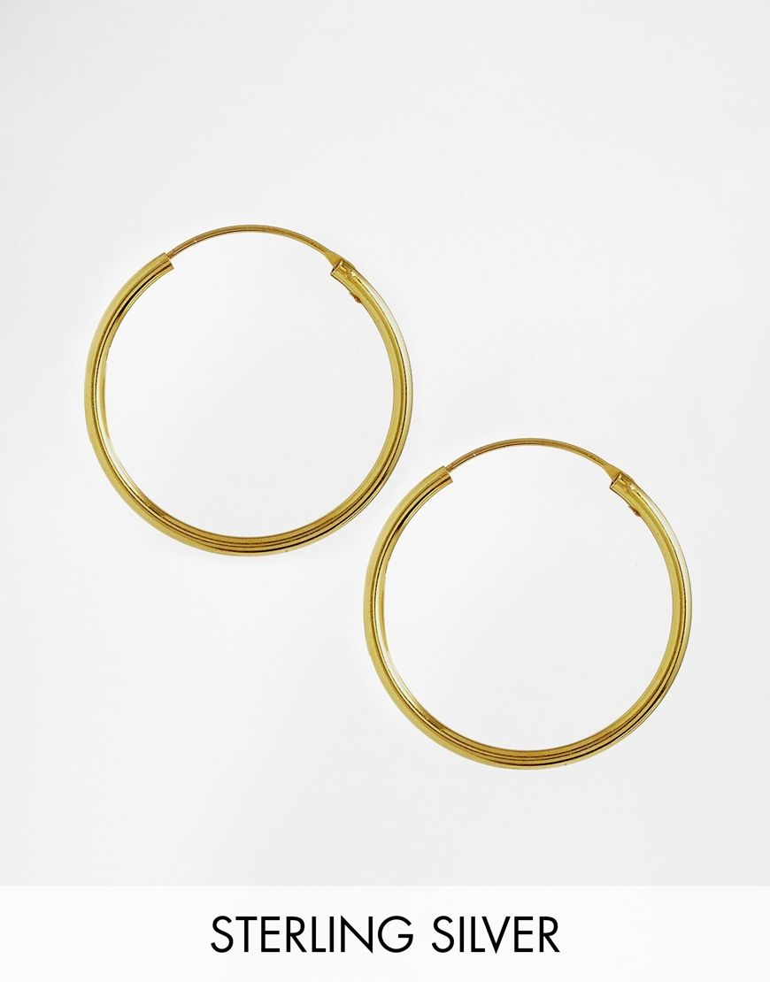 0a0e09ab4 Earrings by ASOS Collection Gold-plated sterling silver Hoop design Through  fastening Avoid contact with liquids 100% Sterling Silver Circumference:  30mm