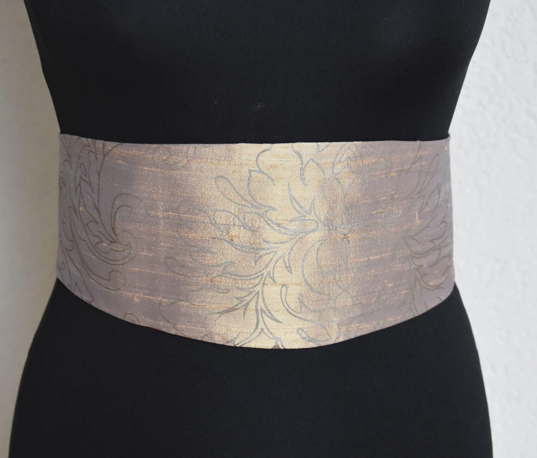Ceinture Obi Soie imprimée beige et soie marron, élastique