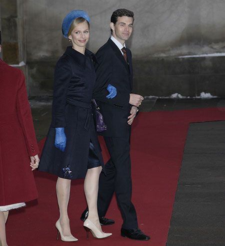 Rose Gad and Holger Foss arrive at the chapel at Christiansborg Palace for the christening of Prince Christian of Denmark on January 21, 2006, in Copenhagen