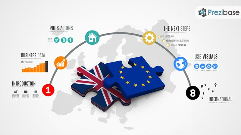 Brexit britain leave europeal union prezi template prezi a conceptual brexit themed prezi template eu and britain flags on jigsaw puzzle pieces debate and discuss about whether britain should leave the european toneelgroepblik Images