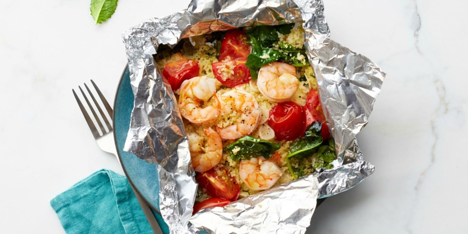 Shrimp and Garlicky Tomatoes with Kale Couscous