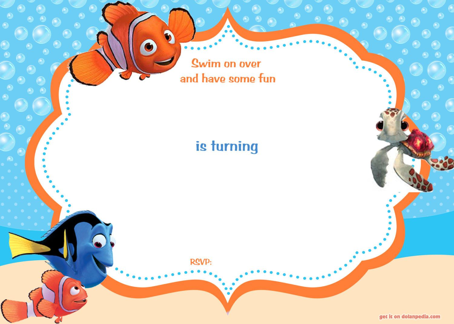 Download Now FREE Template Free Printable Finding Nemo Birthday - Birthday invite free template