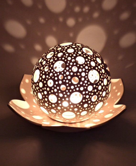 Photo of Lotus Candle Holder Wedding Table Centerpiece Ceramic Lantern Lotus Flower Decor Yoga Meditation Candle Tealight Holder 9th Anniversary Gif
