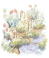 Bend wire hangers to make double arches that can be scattered throughout the garden to keep dogs from lying in the beds