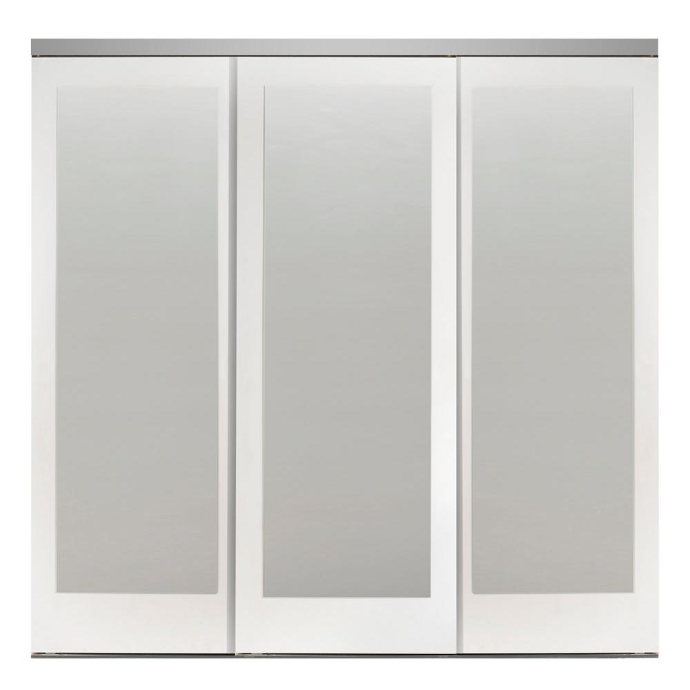 Impact Plus 90 In X 80 In Mir Mel Primed Mirror Solid Core Mdf Interior Closet Sliding Door With Chrome Trim Smmp343 9080c The Home Depot In 2020 Sliding Mirror Closet Doors Mirror