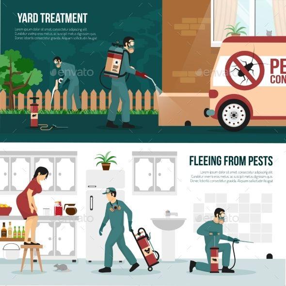 Pest Control Technology Flat Banners Set Pest Control Pest Control Services Pests