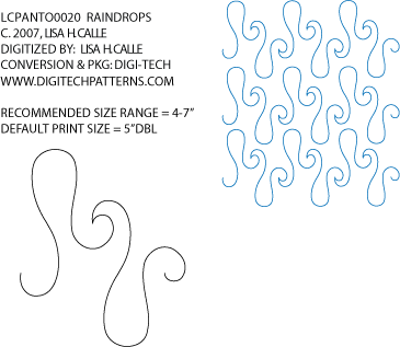 Raindrops Pantograph by Lisa Calle LCPANTO0020 | free motion ... : quilting stencils canada - Adamdwight.com