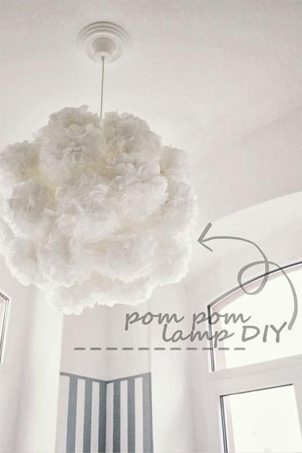 how to pom pom lampe diy mydearlove lampen selber anfertigen. Black Bedroom Furniture Sets. Home Design Ideas