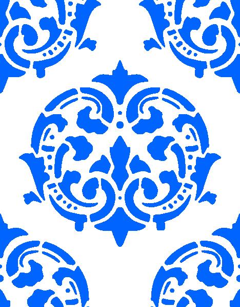 Vintage Simple Stencil | Victorian Pattern Blue clip art - vector