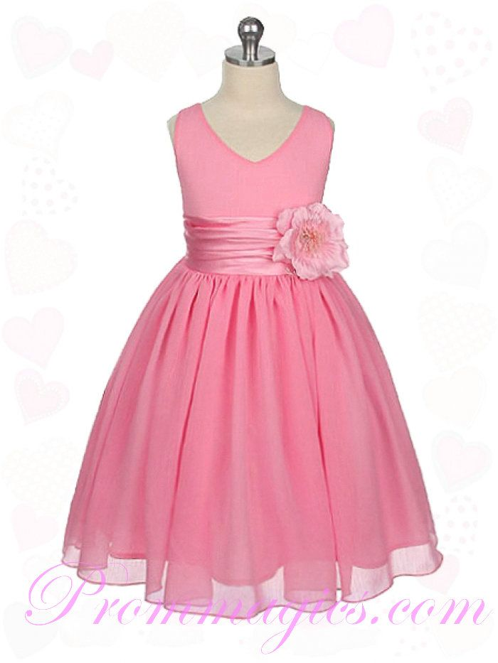 overstock pink flower girl dresses | Cheap V Neck Chiffon Flower Trimmed Pink Childrens Bridesmaid Dresses