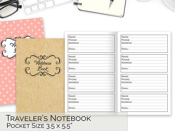 POCKET TN Inserts, Traveler\u0027s Notebook Printable, Address Book