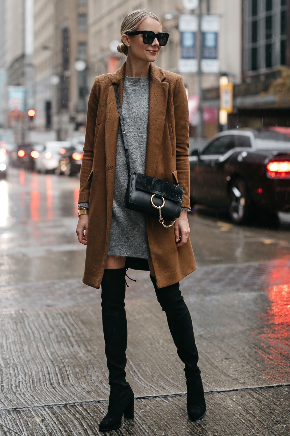 62e4da2770e8e Blonde Woman Wearing Zara Camel Wool Coat Topshop Grey Sweater Dress Chloe  Faye Handbag Stuart Weitzman Black Over the Knee Boots Fashion Jackson  Dallas ...