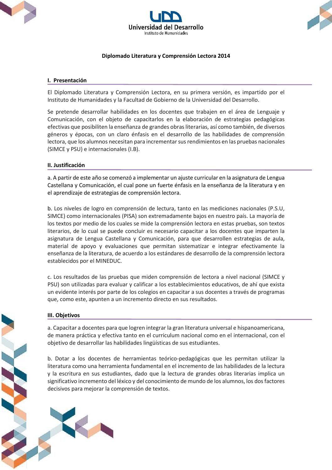 Brochure Diplomado Comprensión Lectora 2014 Humanidades Gobierno UDD ...