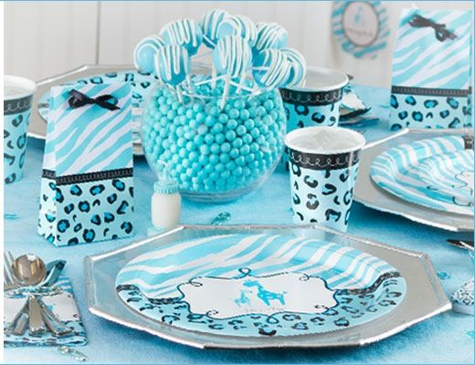 Blue Safari Baby Shower Decor Partycity Baby Shower Tableware