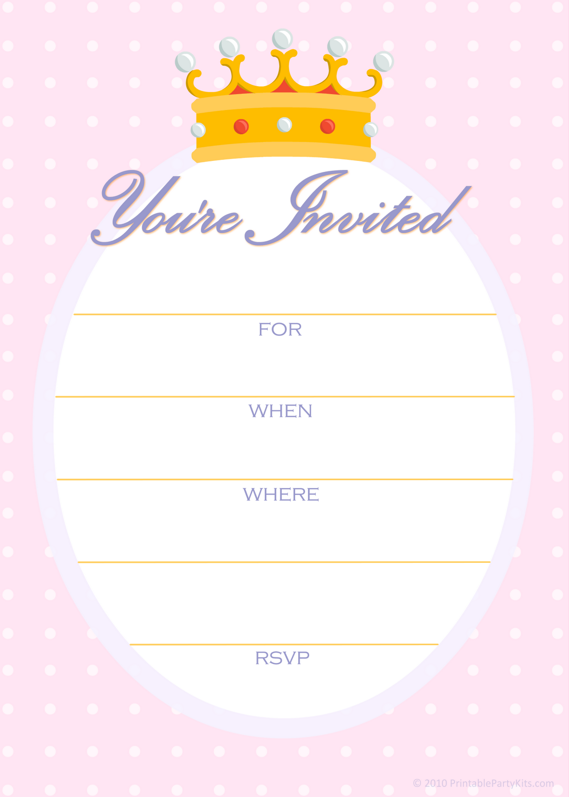 Free Printable Party Invitations: Free Invitations for a Princess ...